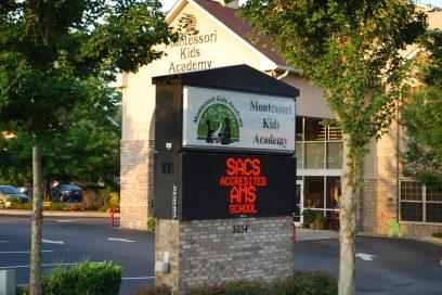A preschool sign in Cumming, GA.