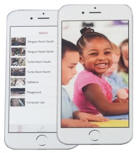 A cellphone screen showing views of a preschool class.