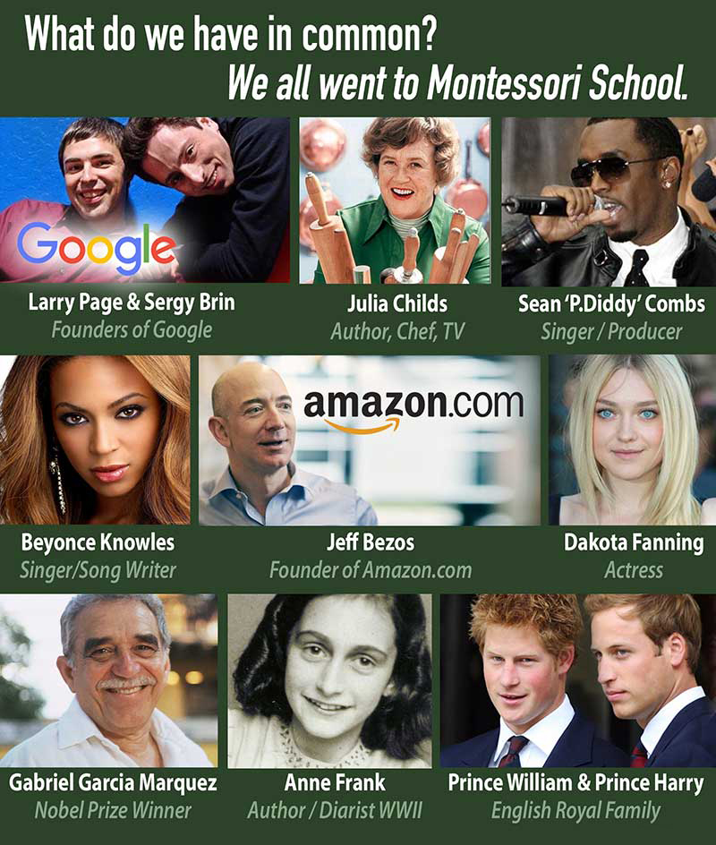 A collage of pictures of famous people who attended Montessori schools.
