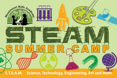 Summer camp graphic with various school related photos.
