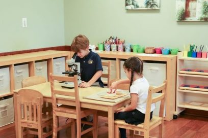 montessori classroom with two preschool kids