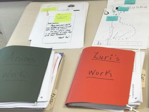 stacks of preschool work