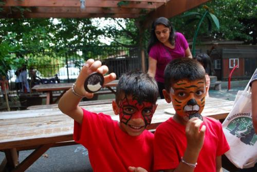 kids with faces painted